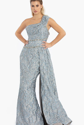 One Shoulder Brocade One Side Skirt Gown