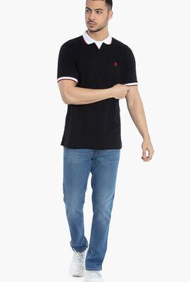 Contrast Trim Cotton Polo Shirt
