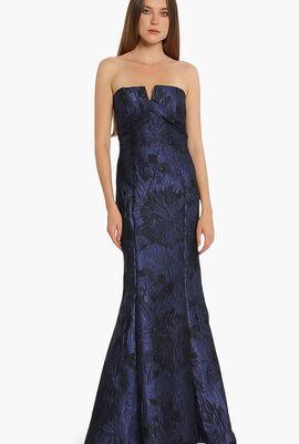 Jacquard Strapless Column Gown
