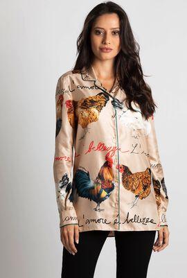 Printed Silk Pyjama Shirt