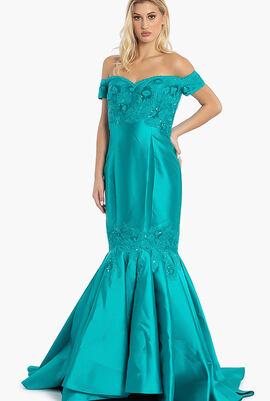 Off Shoulder Beaded Details Mermaid Gown