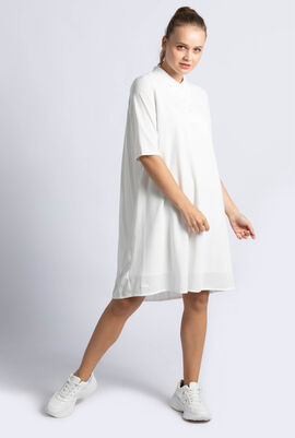 Pleated Back Petit Piqué Polo Shirt Dress
