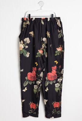 Botanical Silk Twill Print Trousers