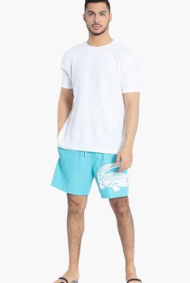 Oversized Crocodile Print Swim Shorts