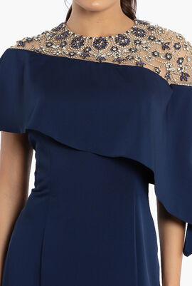 Embellished Asymmetric Evening Dress