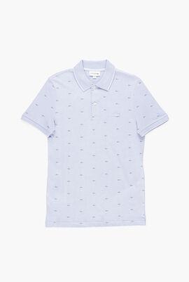 Micro Logo Print Slim Fit Polo Shirt