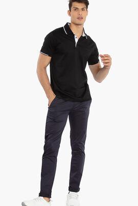 Contrast Trim Collar Polo Shirt