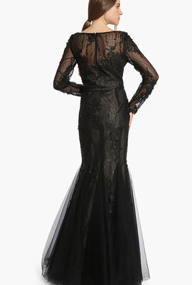 Floral Lace Long Sleeve Evening Gown