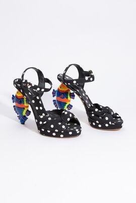 Polka Dots Embellished Flat Sandals