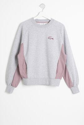 Crewneck Check-Paneled Sweatshirt