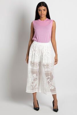 Laced wide leg Cropped Trousers