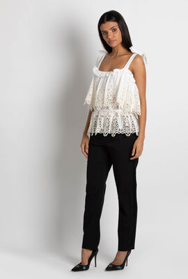 Embroidered Flounce Tank Top