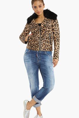 Leopard Print Fur Collar Jacket