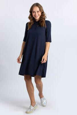 Pleated Back Petit Piqué Polo Shirt Dress