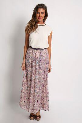 Josline Floral Print Maxi Straight Skirt