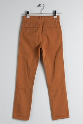 Brown Cotton Twill Chino Pants