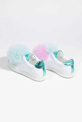 Cotton Candy Pom Pom Slip-On Sneakers
