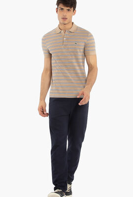 Regular Fit Striped Pique Polo Shirt