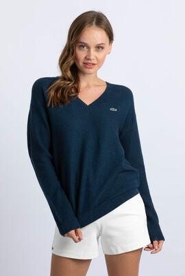 V-Neck Texturized Heathered Cotton Sweater