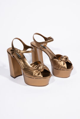 Knotted Metallic Leather Platform Women's Sandals