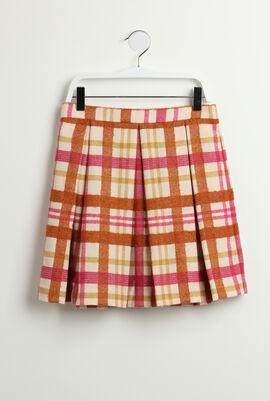 Checkered Pleated Wool Skirt