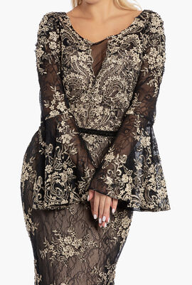 Floral Mesh with Crystal Embellishment Dress