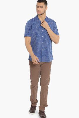 Palm Leaf Beach Print Slim Fit Shirt