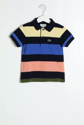 Colourblock Striped Polo Shirt