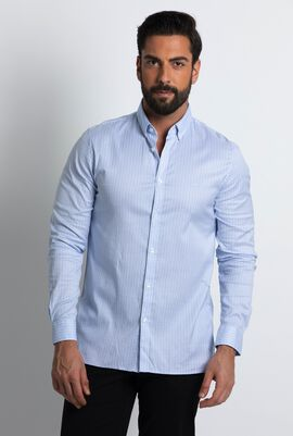 Checkered Stretch Pinpoint Long Sleeve Shirt