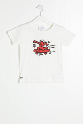 قميص تي شيرت مطبوع بأكمام قصيرة