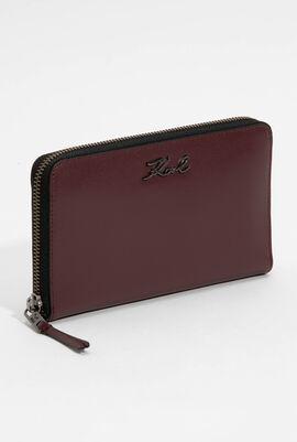 محفظة صغيرة بسحاب محيط بالمحفظة بشعار العلامة التجارية