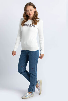 Check Lacoste Badge Cotton Sweater