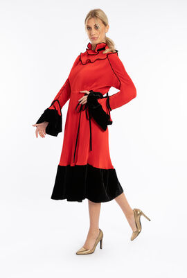 Convertible Pleated Ruffle Dress