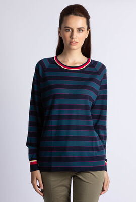 Contrast Accent Striped Wool Jersey Sweater
