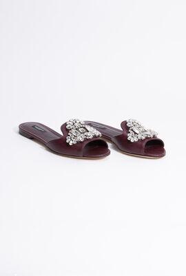 Stone Embellished Leather Sandals
