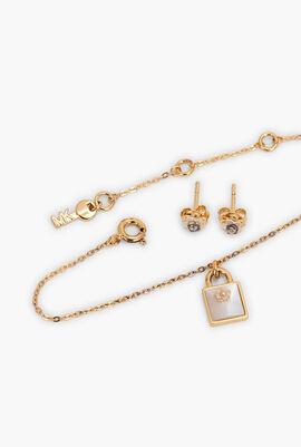 Padlock Charm Bracelet & Earrings Set
