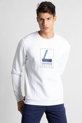 Crew Neck Lacoste Print Fleece Sweatshirt