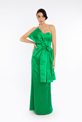 Maxi Bow Satin Duchess Dress