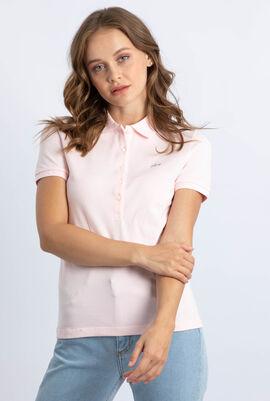 قميص بولو من نسيج مرن ذو قَصَّة عادية