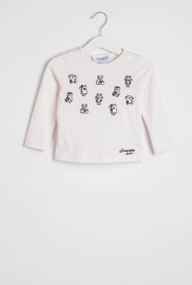 Pink Embroidered Bear Patches T-shirt