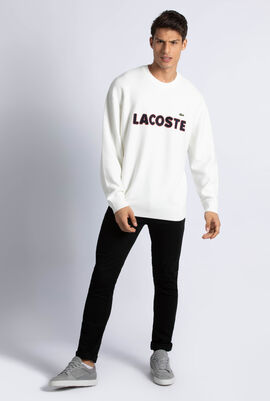 Crew Neck Lacoste Embroidery Cotton Sweater