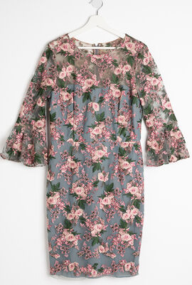 Floral-Embroidered Lace Trumpet-Sleeve Sheath Cocktail Dress