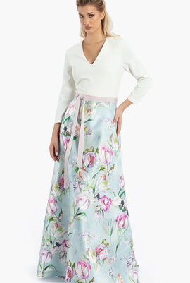 Theia Floral Evening Gown