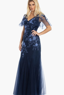 Cape SL Floral Embroidery Tulle Gown