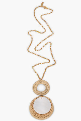 Rattan And Shell Pendant Necklace