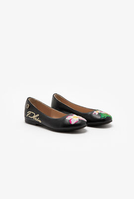 Embroidered Leather Ballerina Flats