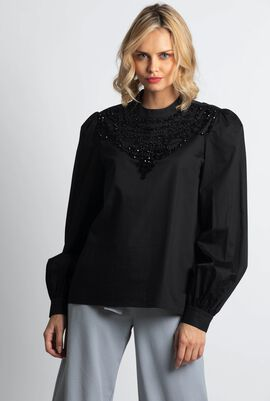 Beaded Bib Blouse