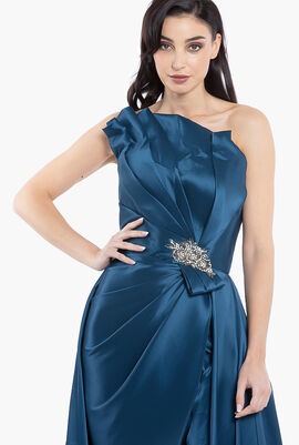 Strapless Jewel Waist Mikado Gown