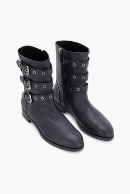 Leather Multi-Buckle Boots