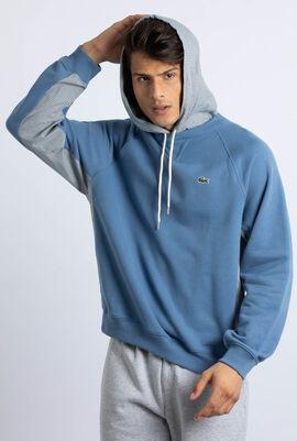 Check Paneled Hooded Sweatshirt
